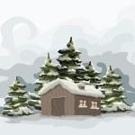 Snowly winter day. — Stock Vector