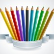 Color pencil set banner. — Stockvektor