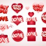 Love tag set — Stock Vector