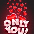 Only You text and hearts — Stock Vector #22813652