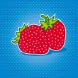 Fresh strawberry on the dotted background — Stock Vector