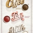 Coffee, tea, and milk poster — Stock Vector