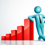 3d vector man leaning chart — Stock Vector