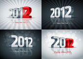 2012 Happy New Year Set — Stock Vector