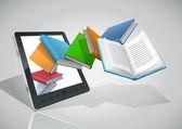 电子书阅读器和所有的书. — 图库矢量图片