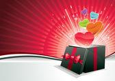 Explosión de caja de amor. — Vector de stock