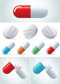 Pills icon set. — Stock Vector
