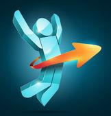 3d vector saltando homem com seta — Vetorial Stock