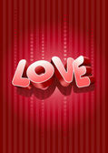 3D Love text — Stok Vektör
