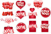 LOVE tag set — Stock Vector