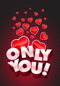 Only You text and hearts — Stock Vector
