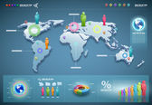 Vector wereld infographics set. — Stockvector