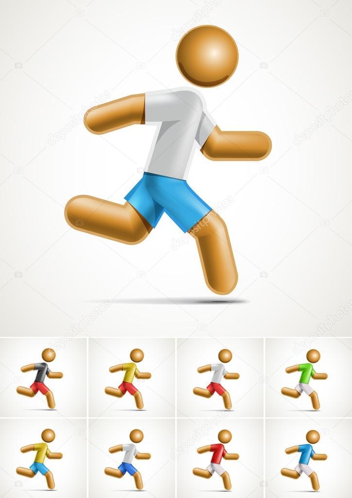 Running Logo Vector Vector 3d Running Man Symbol
