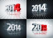 2014 Happy New Year Set — Stock Vector