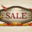 Wooden autumn sale signboard — Stock Vector #30428467