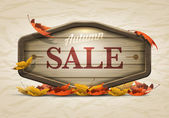 Wooden autumn sale signboard — Stock Vector