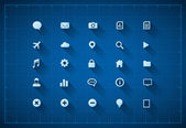 Blueprint icon set — Stock Vector