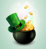 Pot Of Gold and Green Hat — Stock Vector