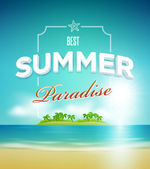 Summer paradise poster design template — Stock Vector