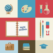 Education and School Supplies icon set — Stock Vector