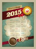 2015 Coffee & Cake Calendar Poster — Stock Vector