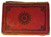 Old red textile cover of hand-written book isolated on white background — Stock Photo