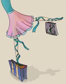 Ballet Dancer Ballerina with Shopping Bags — Stock Vector