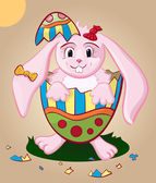 Easter pink bunny in easter multicolor egg — Stock Vector