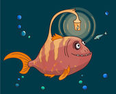 Cute pink Angler fish underwater with his small friend — Stock Vector