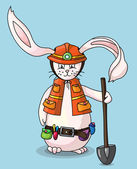 Smiling rabbit with safety helmet, holding a shovel in his hand — Stock Vector