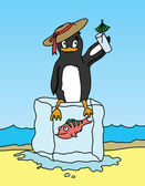 Happy penguin holding a drink and sitting on block of ice. — Stock Vector
