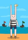 Happy smiling Bunny Seaman in striped vest — Stock Vector