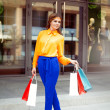 Full lenght portrait of a young woman holding shopping bags stan — Stock Photo