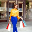Full lenght portrait of a young woman holding shopping bags stan — Stock Photo #26146135