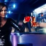 Woman drink at night club bar — Stock Photo #30585889