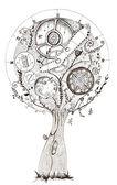 Clock tree, hand drawing, ink — Stock Photo