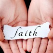 Stock Photo: Mholding faith word