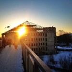 City and sun — Stock Photo