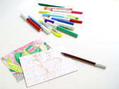 Markers and Sketches — Stock Photo