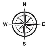 Compass silhouette in black — Stock Vector