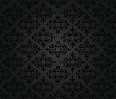 Seamless black floral damask wallpaper pattern — Stock Vector