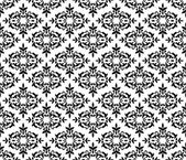 Black and white seamless floral wallpaper pattern — Stock Vector
