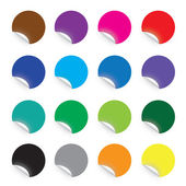Colourful round stickers on white background — Stock Vector
