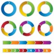 Set of colourful Circle Diagrams and arrows — Векторная иллюстрация