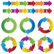 Set of vibrant circle diagrams and chart arrows - Stockvektor