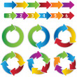 Set of vibrant circle diagrams and chart arrows - Grafika wektorowa