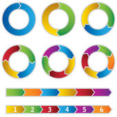 Set of colourful Circle Diagrams and arrows — Stock Vector