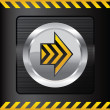 Yellow danger button on a steel background - Stock Vector