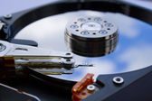 Close up of a opened hard disk — Foto Stock