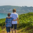 Stock Photo: Kids walking towards sea